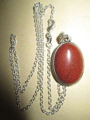 """LOVELY STERLING SILVER & RED GEM PENDANT AND NECKLACE SET chain approx 20"""""""