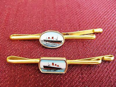 Two Tie Clips. Queen Elizabeth and Queen Mary. Cunard