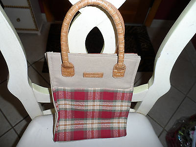 Longaberger red, green and tan check tote