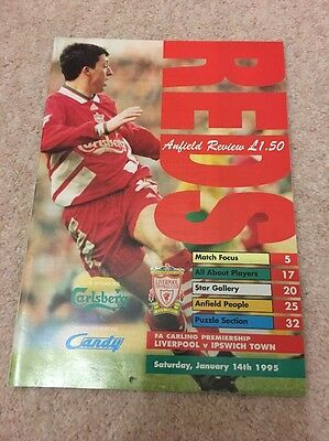 Liverpool vs Ipswich Town Official Programme 1995