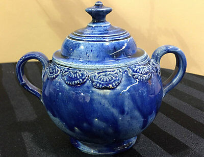 Rare American South Jersey Pottery Sugar Bowl, c. 1815