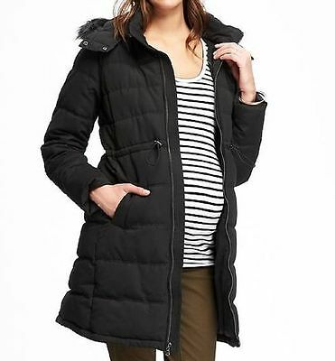 New Old Navy Maternity Black Long Puffer Jacket S