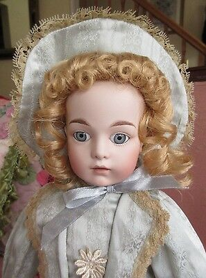 """Antique Reproduction 16"""" French Bru Doll Louis Nichole Bisque Dressed Orig.Box-A"""