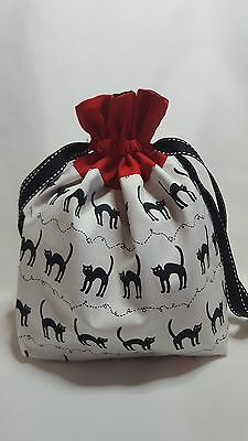 "Small Lined DRAWSTRING Bag, BLACK CAT, 10""x7""x3"", project bag, storage bag"