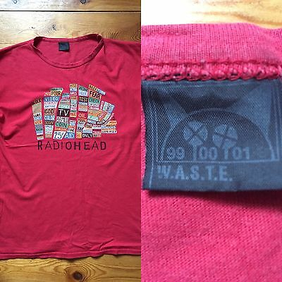 RADIOHEAD ''HAIL TO THE THIEF ''  t shirt rouge (vintage)