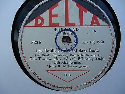 "SCARCE! LEN BEADLE IMPERIAL JAZZ BAND  ""Big Head/Panther Dance"" DELTA D3 E-"