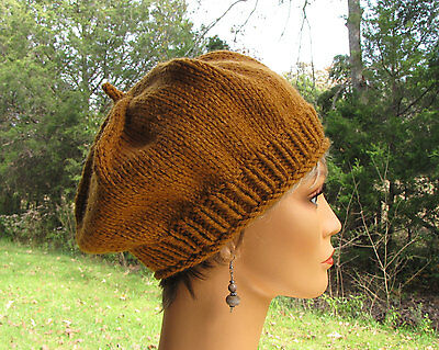 Amber Brown Slouchy Beret, Thick Soft Butterscotch Wool, Beautifully Hand Knit