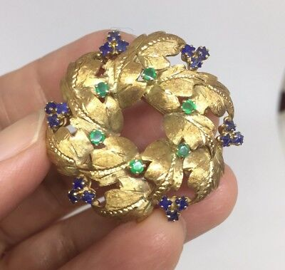 Vintage 14K Gold Wreath Brooch Set With Full Cut Emeralds And Sapphires