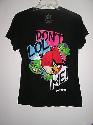 Junior's Angry Birds Black T-Shirt Size Large Short Sleeve Womens