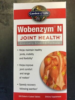Garden of Life Wobenzym N 200 Tablets Inflammation Joint Support Fast Relief