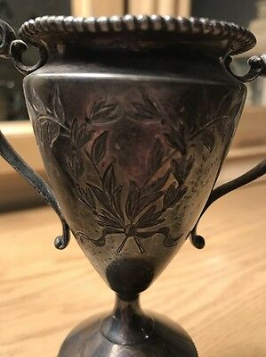 Unusual Antique Ornate Silver Plate Trophy Cup Vase