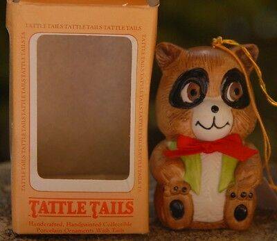 Tattle Tails Collectible Porcelian  Racoon/Bell  Christmas Ornament in box