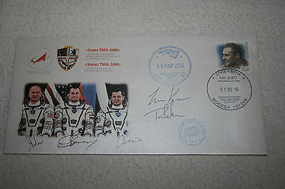 Signed Soyuz TMA-20M Space Flown First Day Cover with prime crew