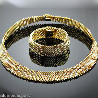 High End Heavy Wide Mesh Necklace & Bracelet Set 18K Yellow Gold Made In Italy