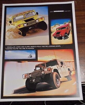 """2000 Hummer H1 4 Page Brochure 8.5"""" x 11"""""""