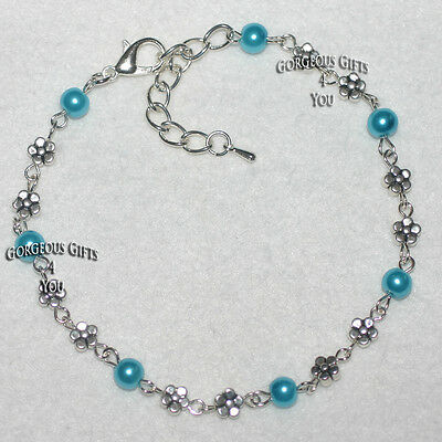 NEW Turquoise Glass Pearl Daisy Flower Anklet Ankle Bracelet Disco Party Gift
