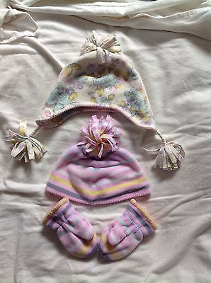 2x Girls Fleece Winter Hats And 1pair Of Mittens, 1-2 Years