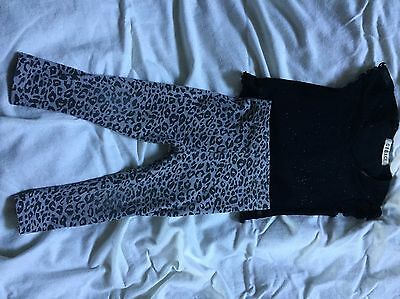 Girls Black Sparkly Top And Leopard Print Leggings, George, 18-24 Months