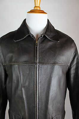 J Crew Distressed Leather Jacket Mens Size Medium Brown Quilted Interior