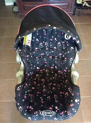Graco SnugRide 20 22 Baby Car Seat Replacement Cushion Cover Pink Flowers Black