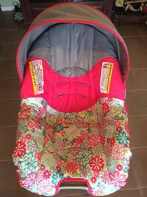 EVENFLO Nurture Baby Car Seat Cover Cushion Canopy Set Pink Blue Flowers