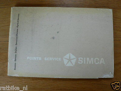 Simca Points Service Book With All The Service Point Europe And World