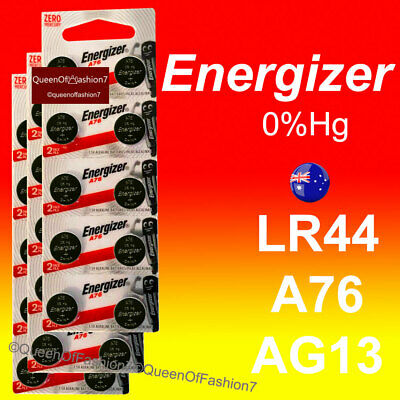 30~20~10 x Genuine Energizer LR44/A76/AG13 Battery 1.5V Cell Button