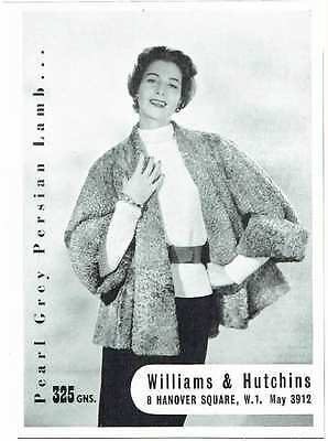 Vintage 1950's Advert - WILLIAMS AND HUTCHINS - 477