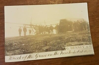 postcard ship wreck of the grace on the ness rocks Oct 16 1904 real photo