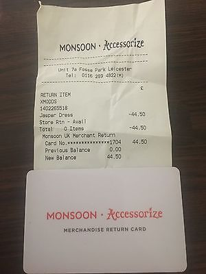 Unwanted Monsoon/ Accessorize Gift card Store credit £44.50