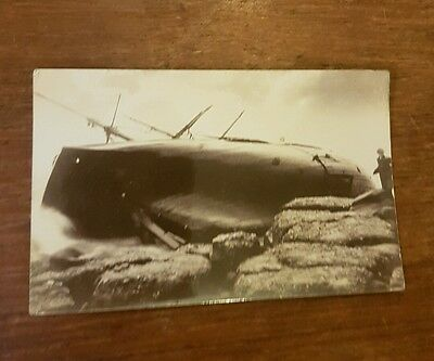 postcard ship wreck of the grace on the ness rocks real photo