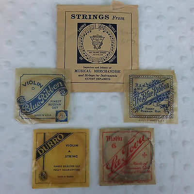 Lot of 4 Vintage Violin Strings Packages Russian Gut La Tova Durro B. & J.