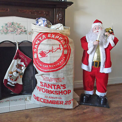 Santa Express Christmas stocking traditional xmas santa sack bag presents gift
