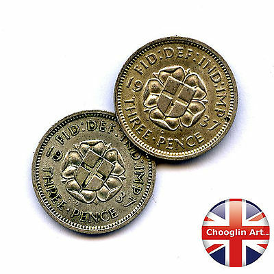 A pair of 1937 British GEORGE VI THREEPENCE Coins (Silver .500 Fine)