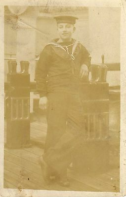 "Pc Photo Sailor HMS Impregnable ""George Baker"" on rev. Faded."