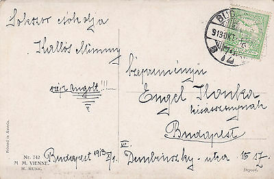 1913 Hungary local postcard with perfins in use.