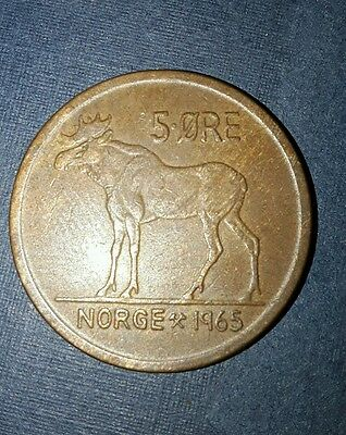 1965  Norway 5 ore coin collectable