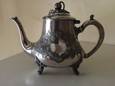 Vintage Silver Plated Teapot With Fruit Like Lid Henry Wilkinson Ltd