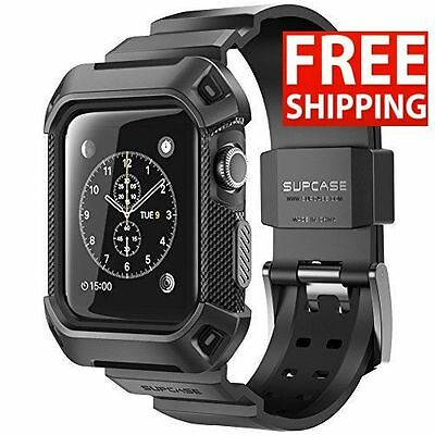 Apple Watch 38mm Rugged Protective Case With Strap Bands SUPCASE Black
