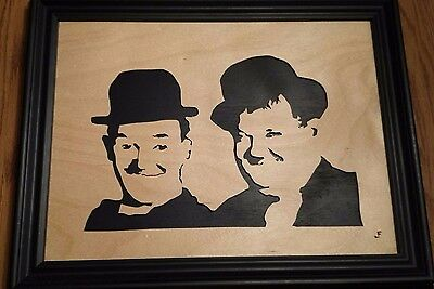 Laurel and Hardy Scroll Saw Wood Art Framed by Jerry Freeman