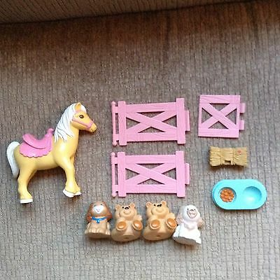 Fisher Price Loving Family Horse/Dogs/Teddies and Fencing Lot