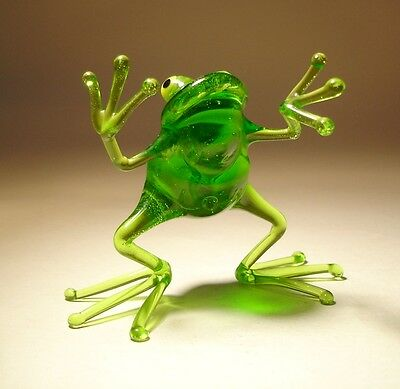 "Blown Glass Figurine ""Murano"" Art Animal Green Dancing FROG 2"