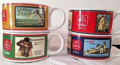 Nabisco Advertising Soup Mugs Cups Bowls Ritz Uneeda Crackers Biscuit Colorful