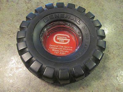Vintage GENERAL Tire Glass Insert Advertising Ashtray Automobilia Collectible