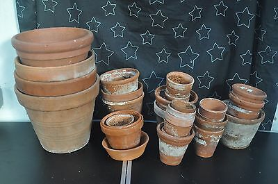 Job lot of old vintage terracotta garden plant pots- COLLECTION ONLY
