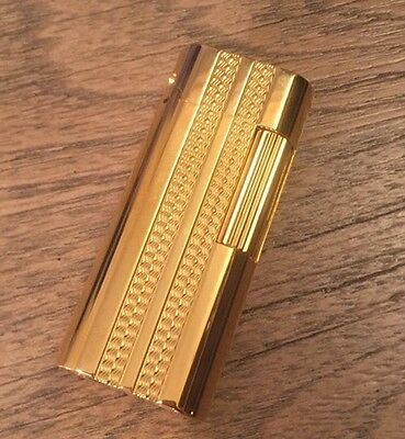 Gold Rollagas Lighter New Tobacco Smoking Antique Leather Case Flame Torch