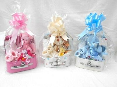 Baby Small Nappy Cake Gift Baby Shower Suitcase Pink Blue Neutral only £11.99