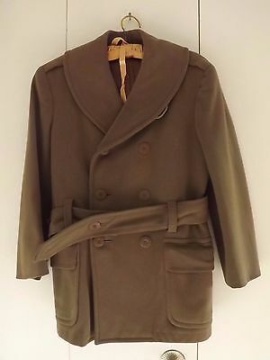 WWII U.S. Army Officer's Doeskin Overcoat Jeep Coat Size 34 - 36 NICE