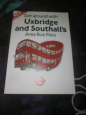 London Transport Uxbridge & Southall Area Bus Pass Map/leaflet 1987