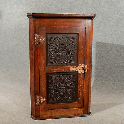 Antique Oak Carved Corner Cabinet Cupboard Arts & Crafts Copper Hinging c1900